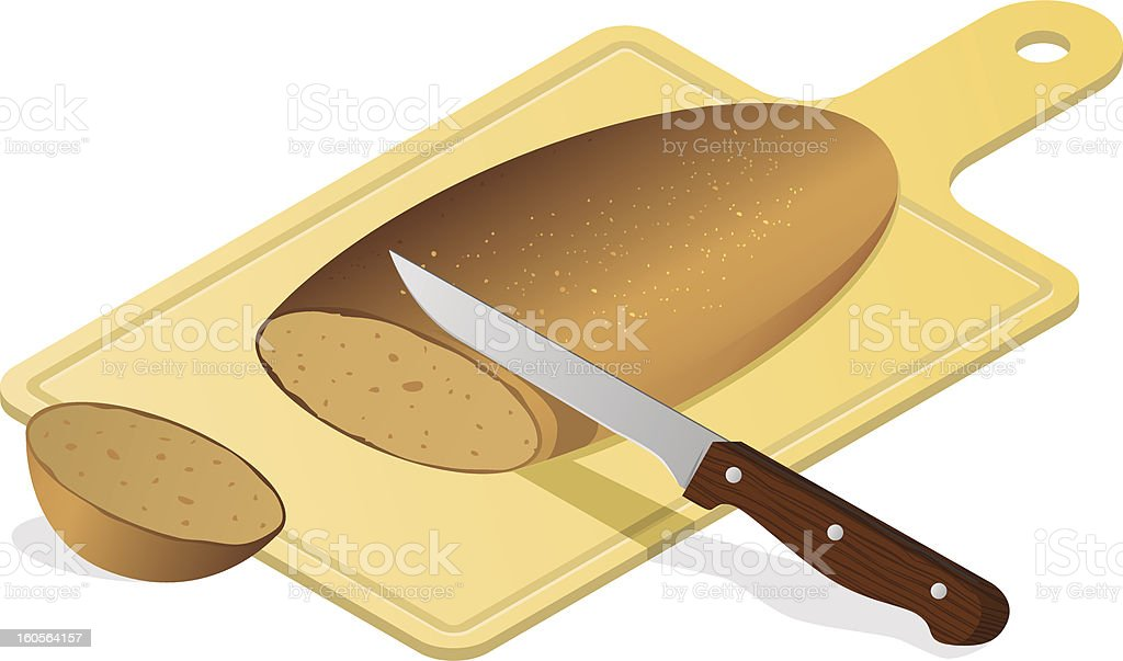 Bread board with knife royalty-free stock vector art