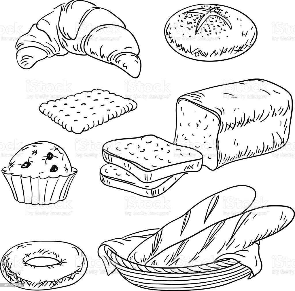 Bread collection in black and white vector art illustration