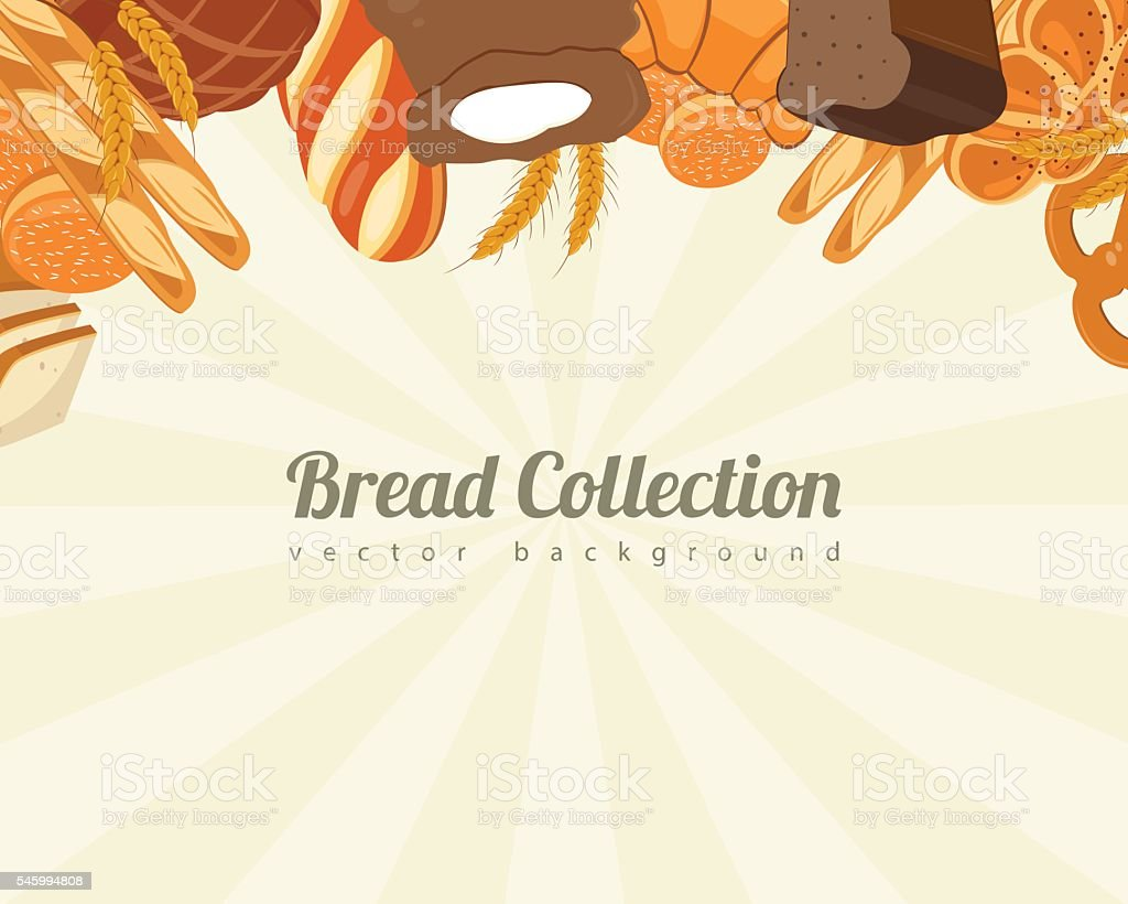 Bread collections. Food background with bread icons. Bakery products. Vector royalty-free stock vector art
