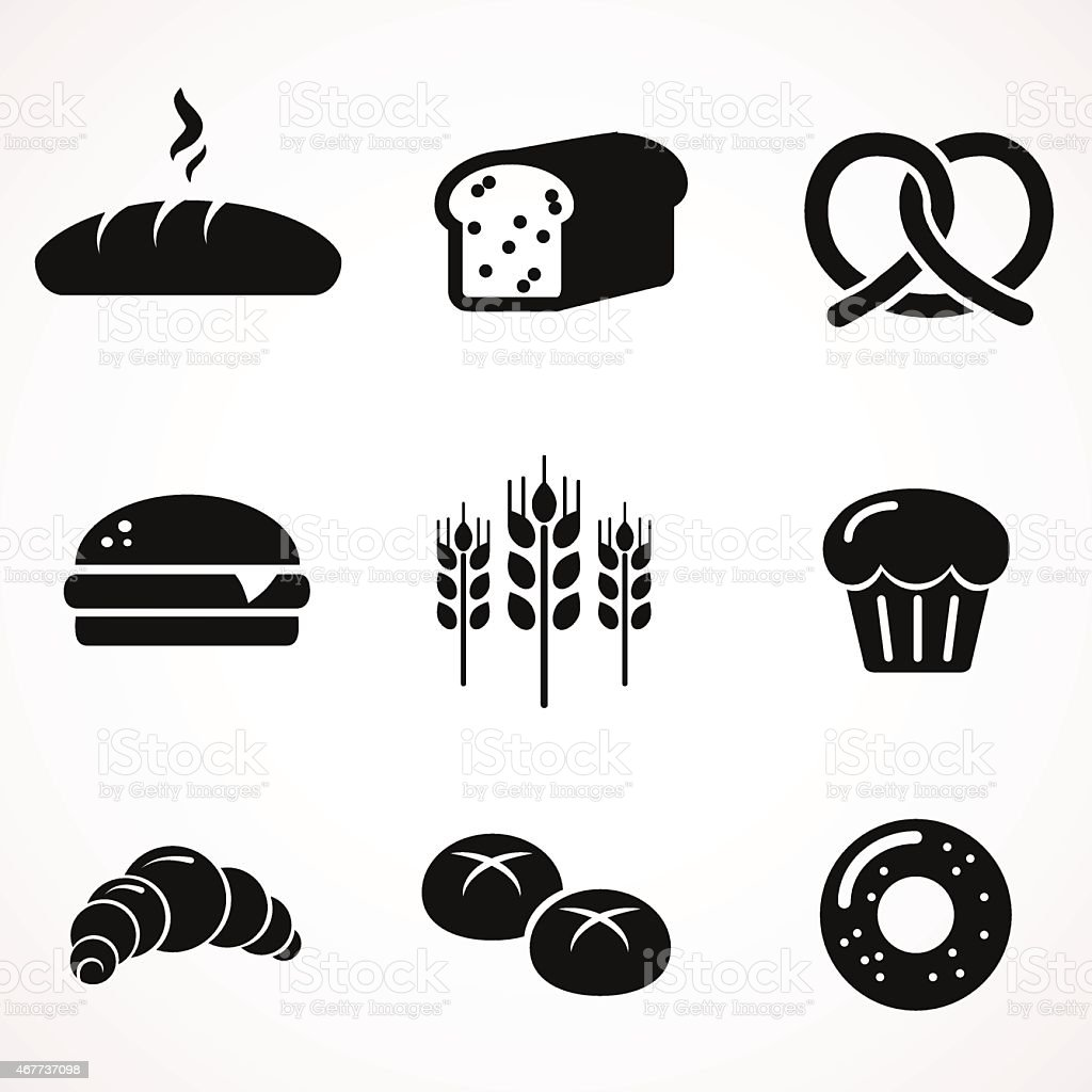 Bread icon set. vector art illustration