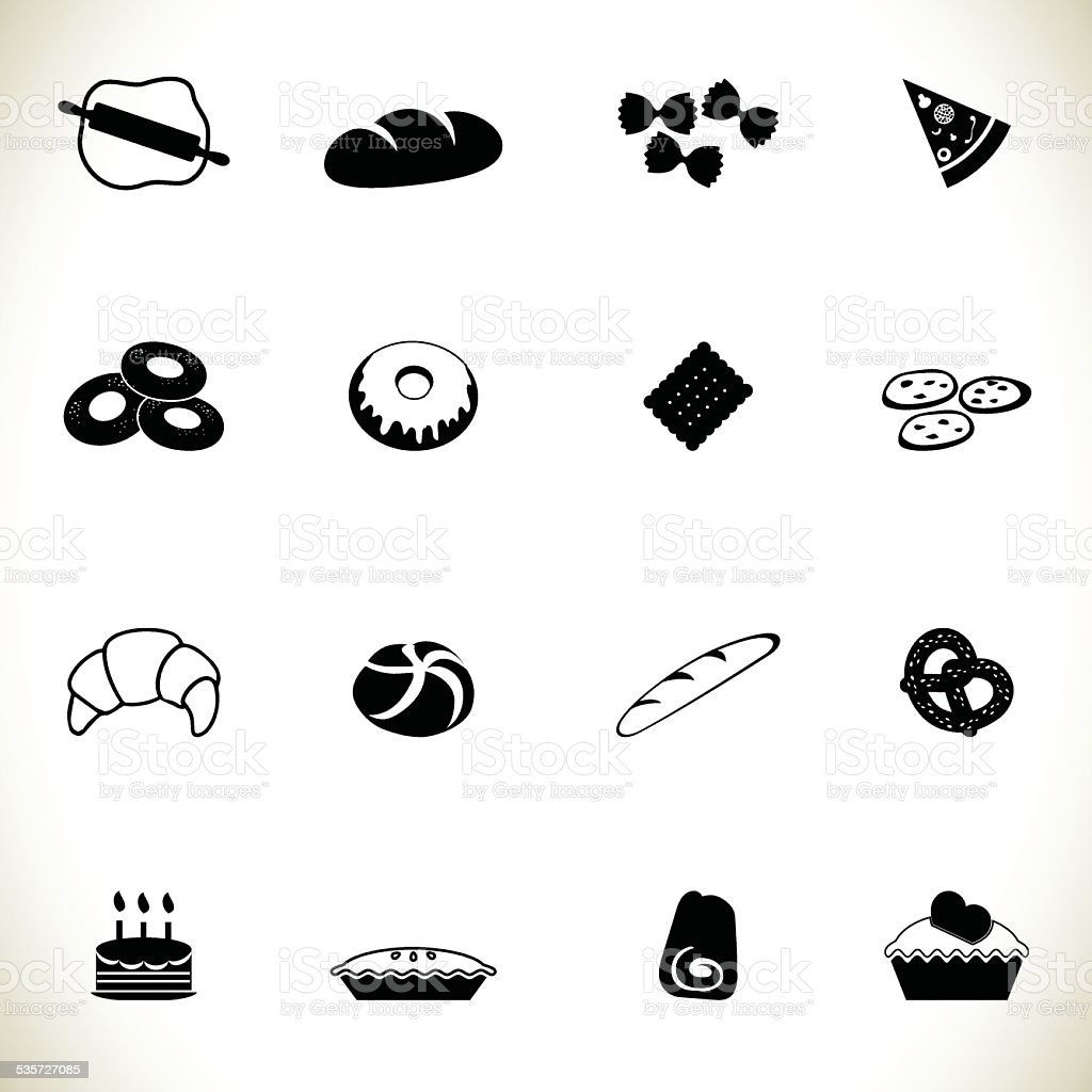 Bread icon set vector art illustration