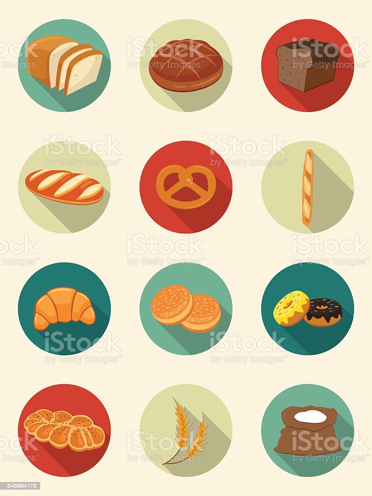 Bread icons. Bakery products. Flat design icons. Vector vector art illustration