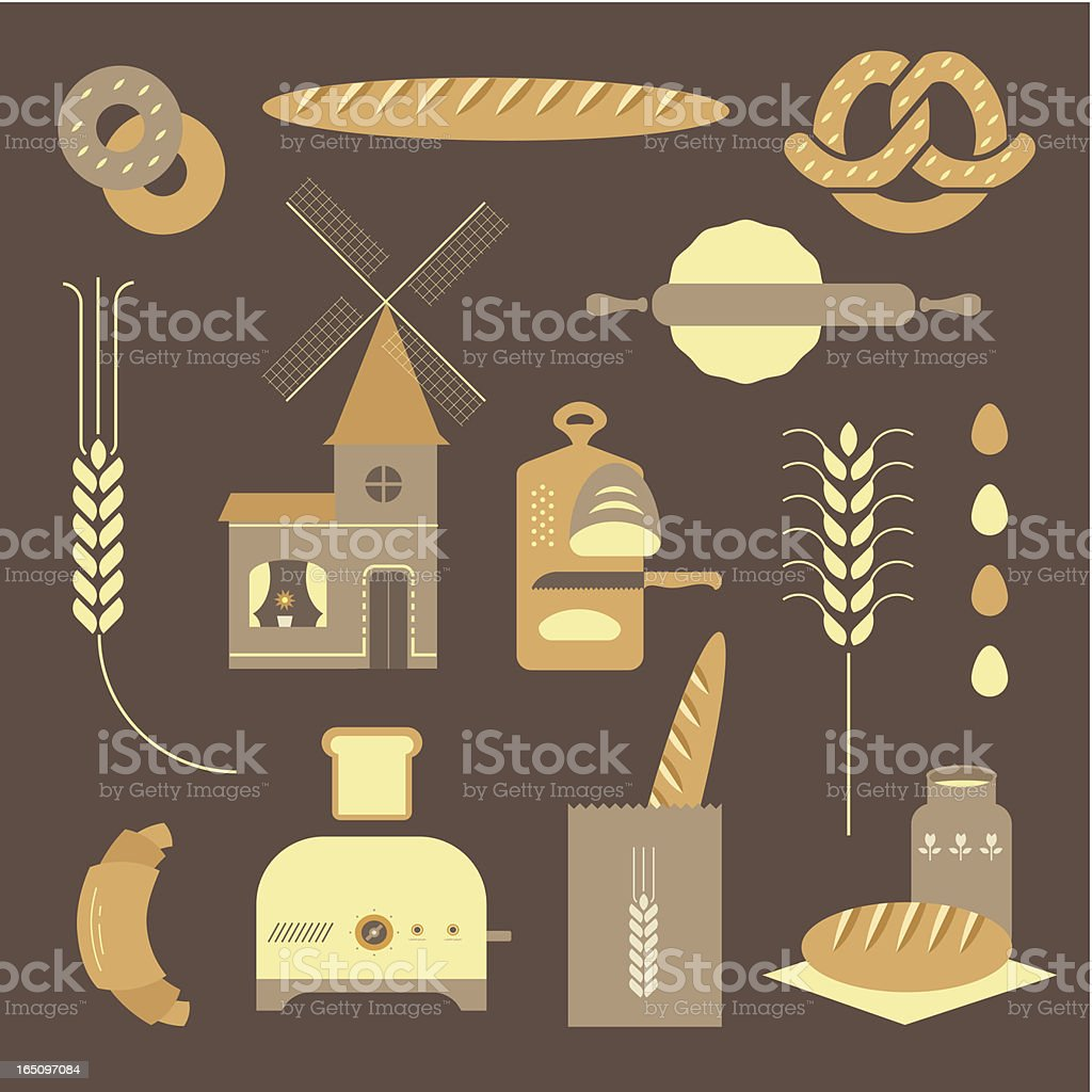 Bread icons royalty-free stock vector art