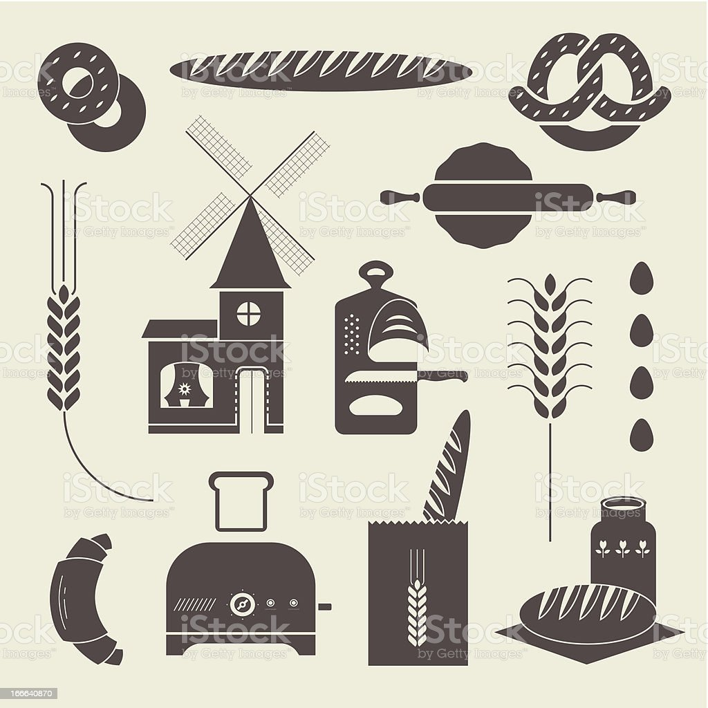 Bread icons royalty-free stock vector art