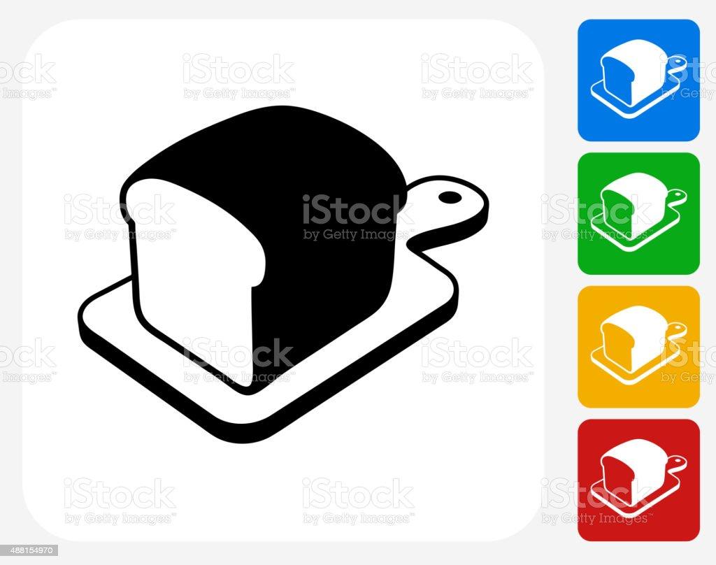 Bread on Cutting Board Icon Flat Graphic Design vector art illustration