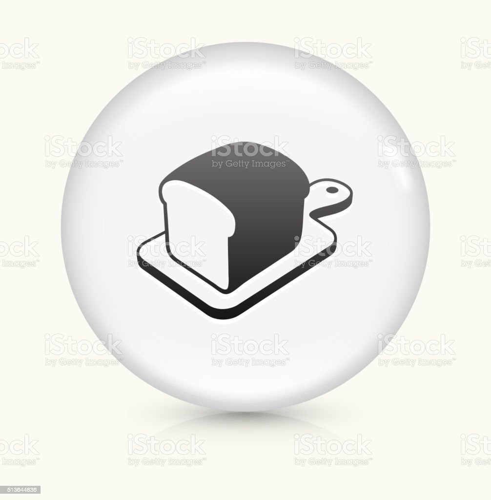 Bread on Cutting Board icon on white round vector button vector art illustration