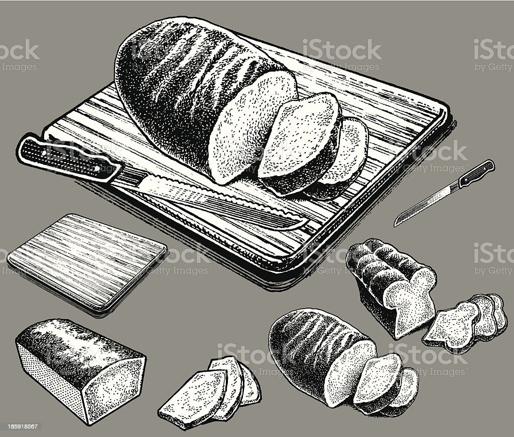 Bread on Cutting Board royalty-free stock vector art