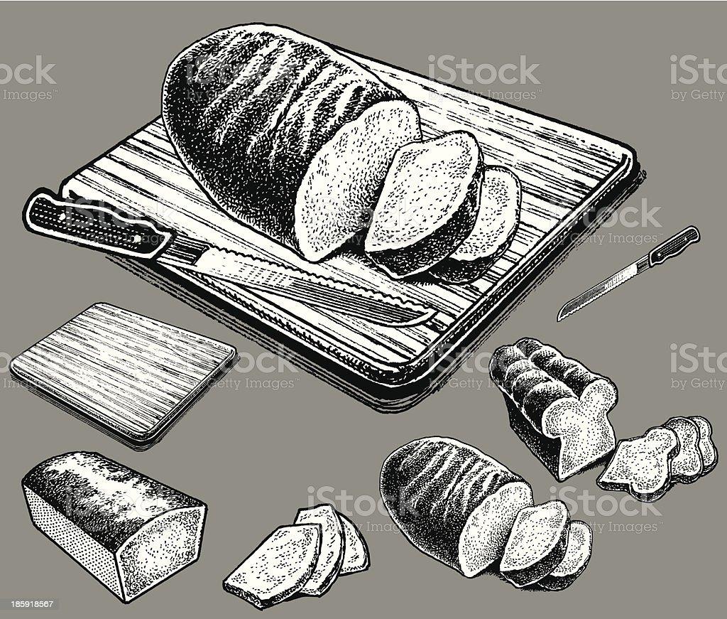 Bread on Cutting Board vector art illustration