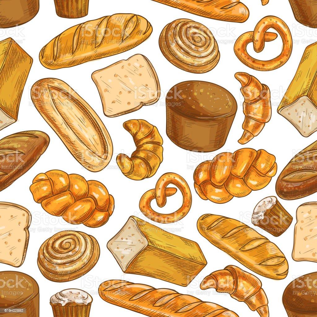 Bread pattern. Bakery seamless sketch icons vector art illustration