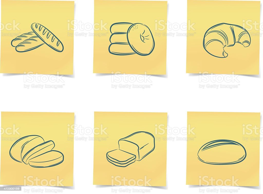 bread post-it notes royalty-free stock vector art