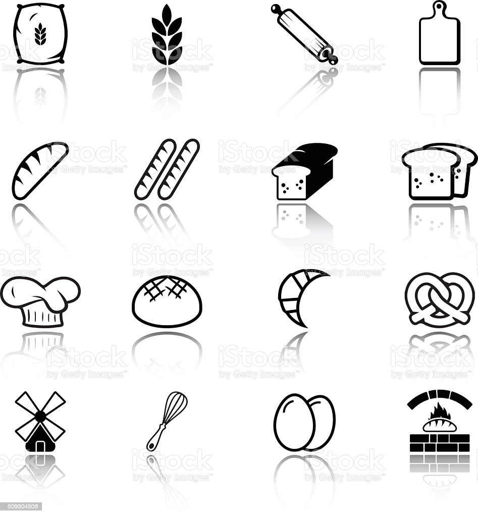Bread related icons vector art illustration