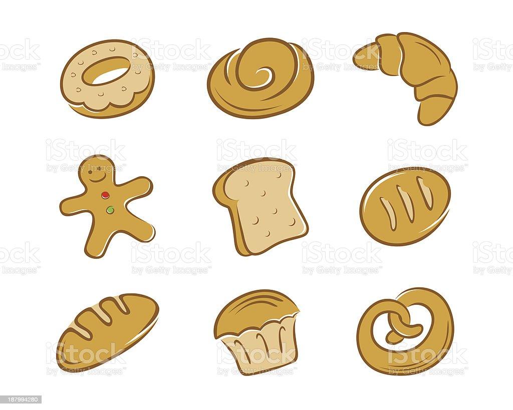 Bread Set in Color royalty-free stock vector art