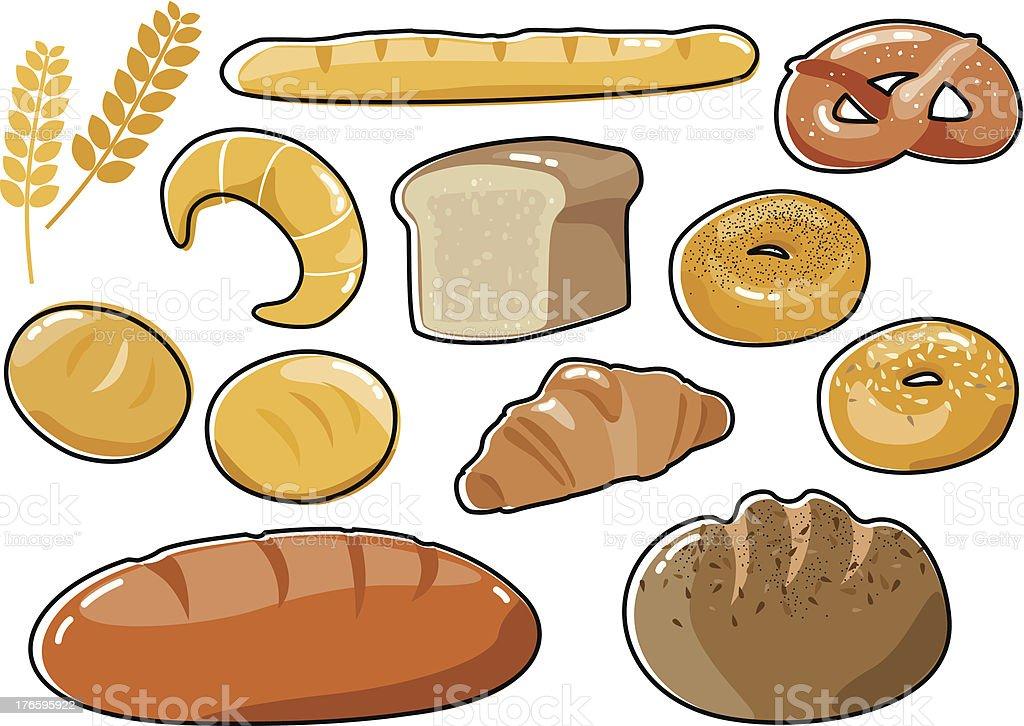 Bread set vector art illustration