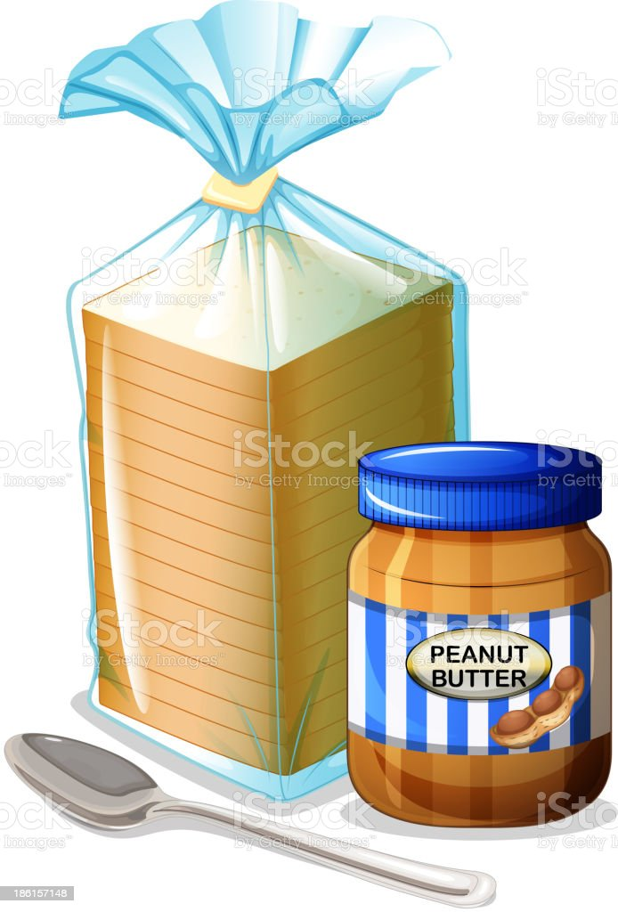bread with a peanut butter and spoon vector art illustration