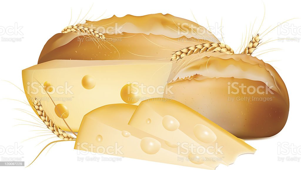 bread with cheese. royalty-free stock vector art