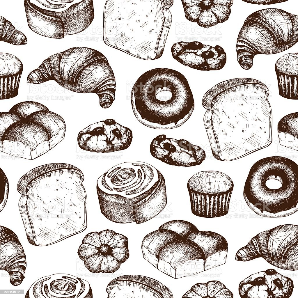 breads and pastries vector art illustration