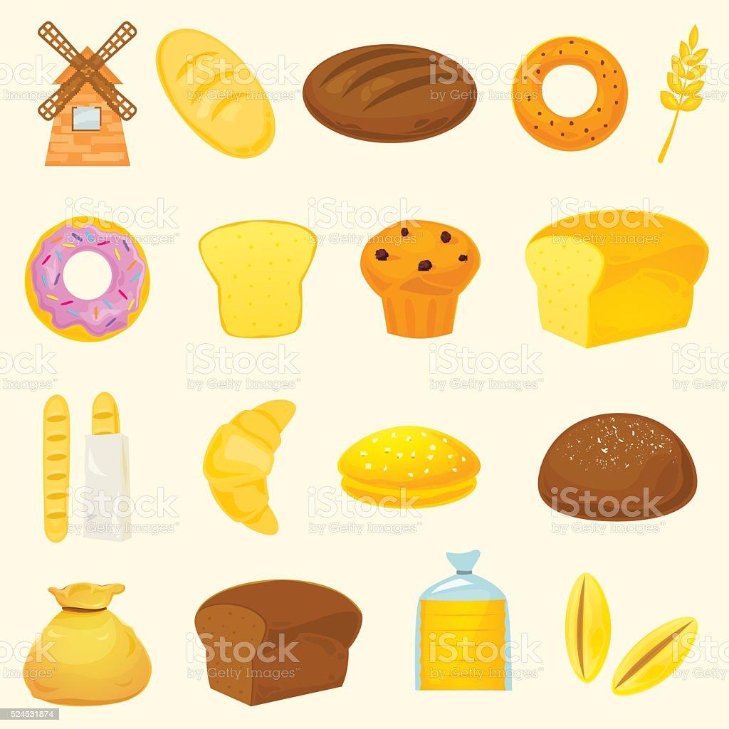 Breads icons, vector illustration vector art illustration