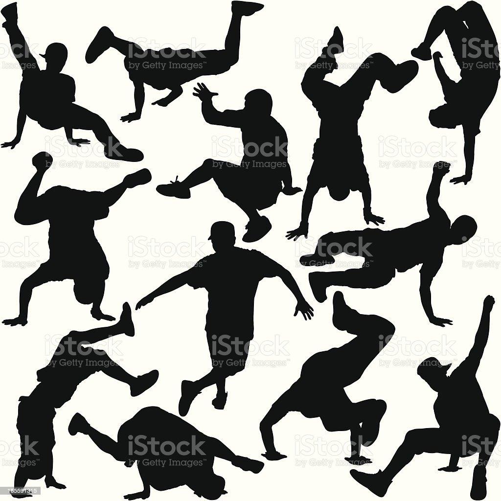 Break Dancer Silhouette Set vector art illustration