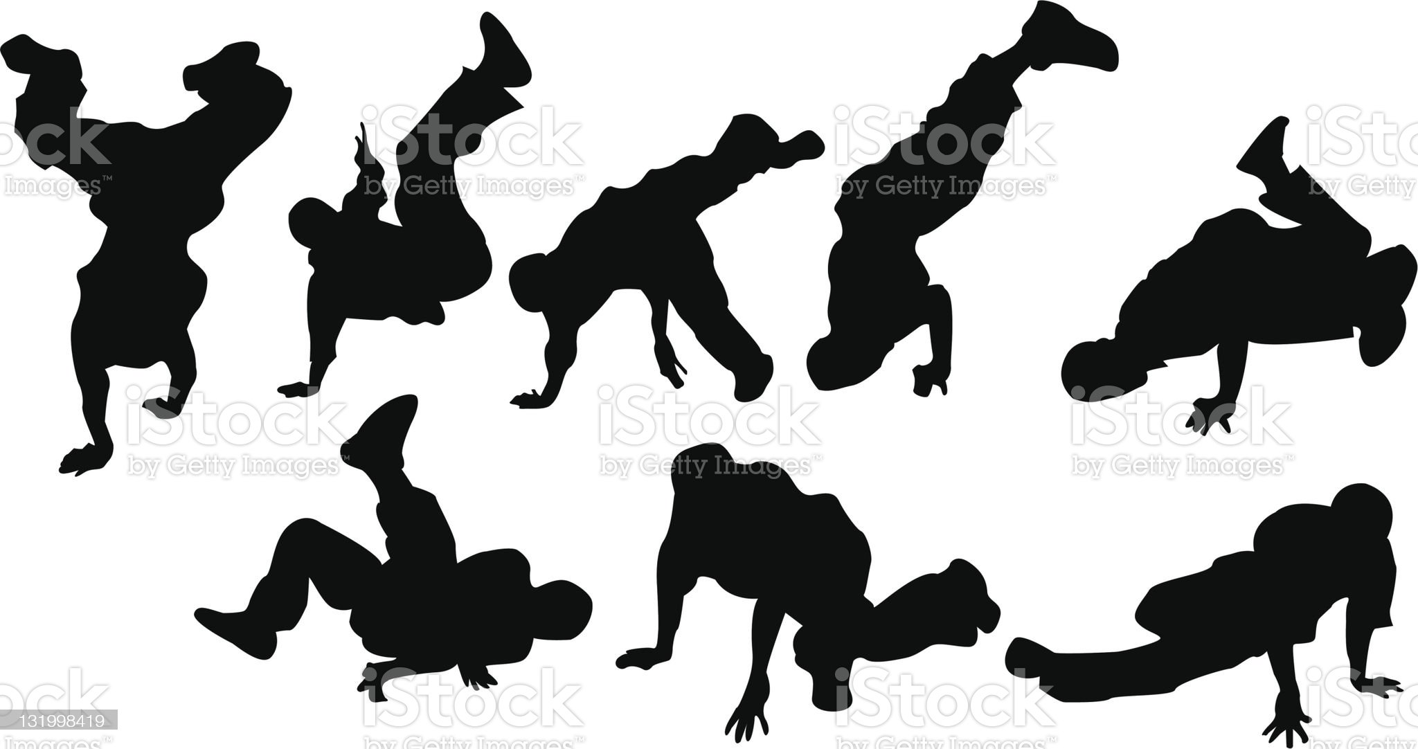 Break dancers royalty-free stock vector art