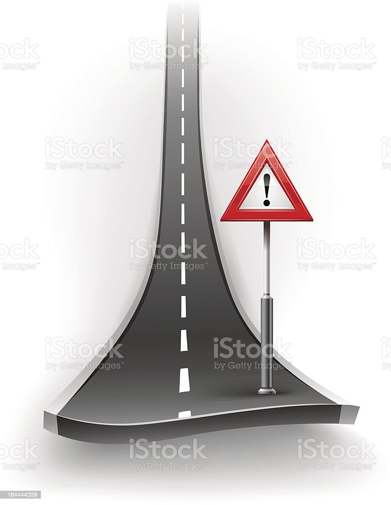 break of asphalt road with warning sign vector art illustration