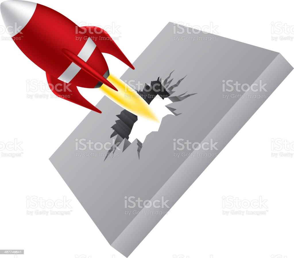 Break through barrier vector art illustration