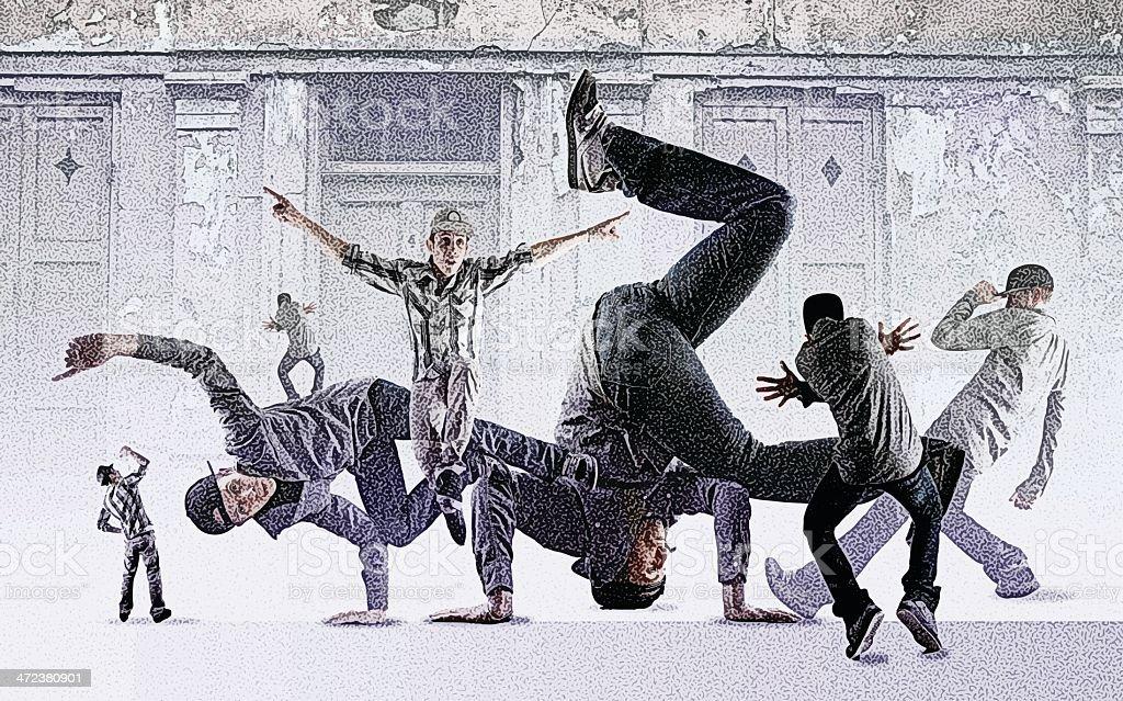 Breakdance Montage vector art illustration