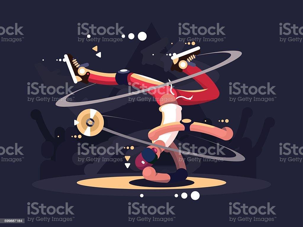 Breakdancer dancing on stage vector art illustration