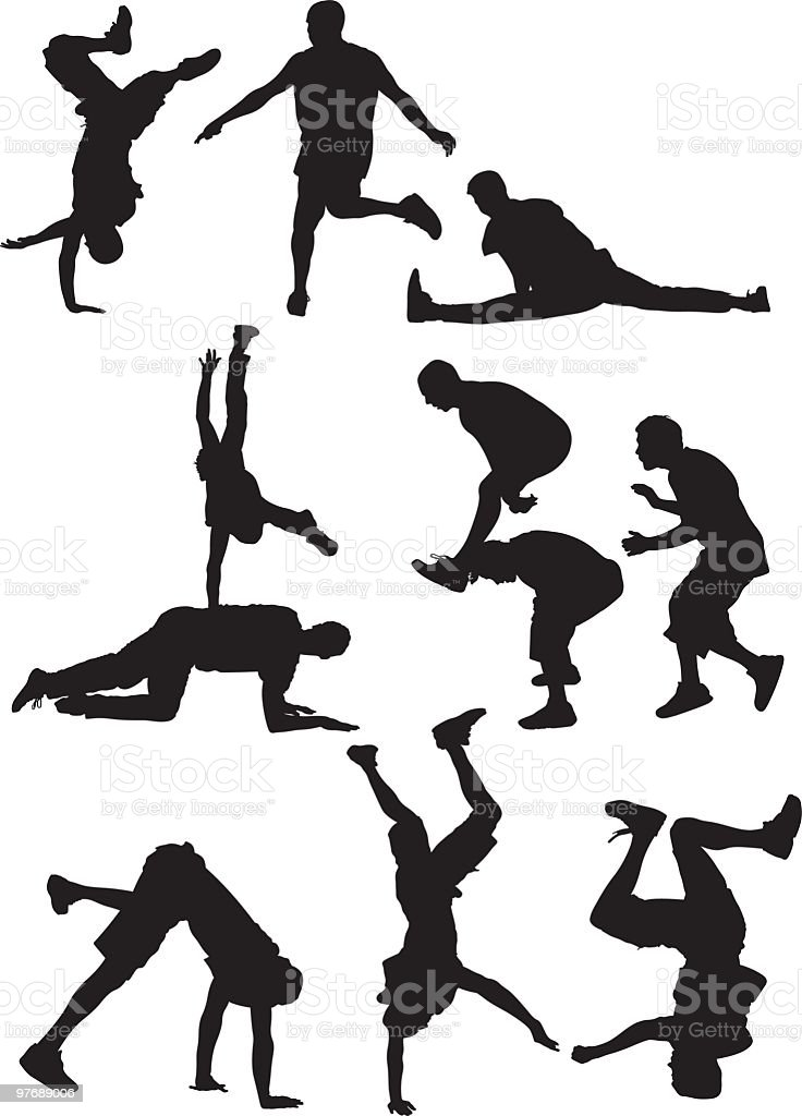 Breakdancers like to party vector art illustration