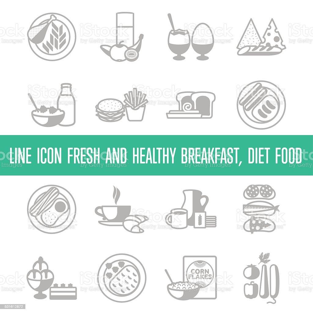 breakfast. 4x4. line vector art illustration