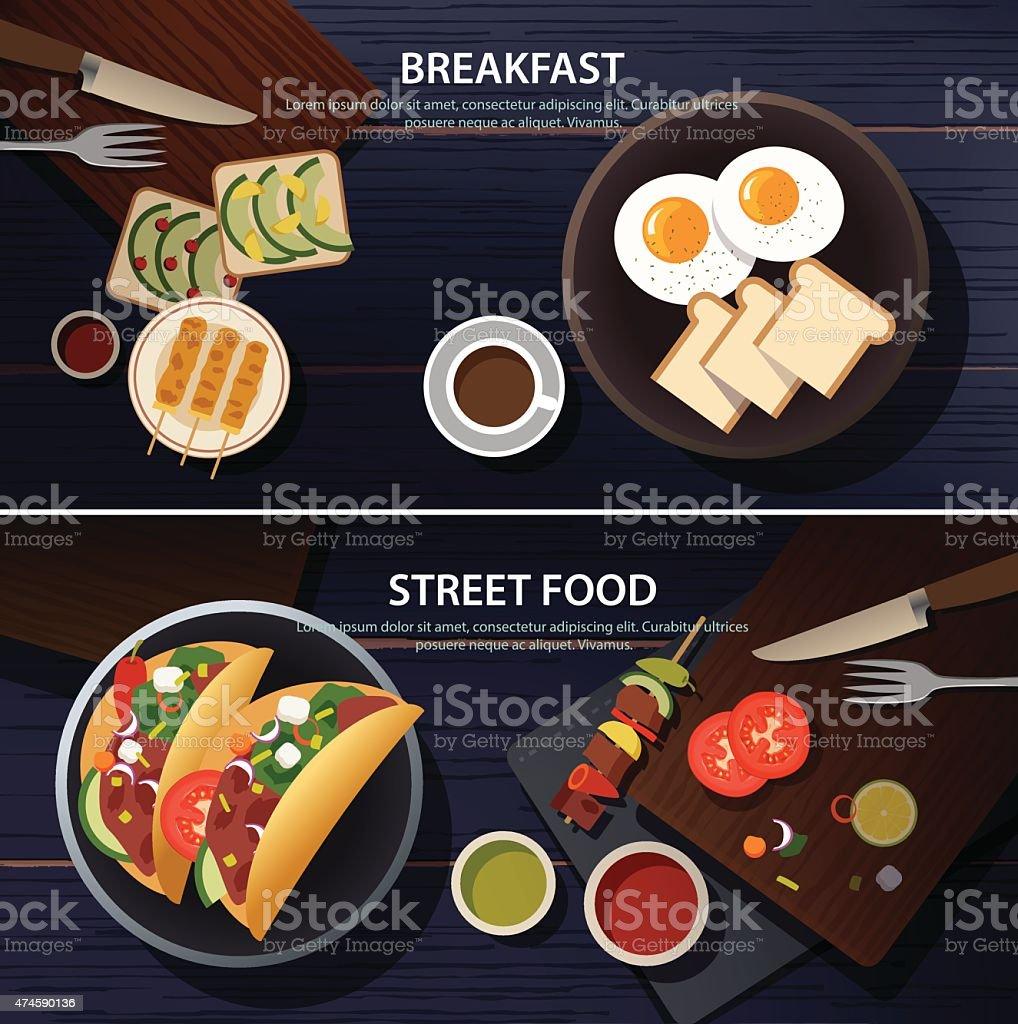 breakfast and street food banner vector art illustration