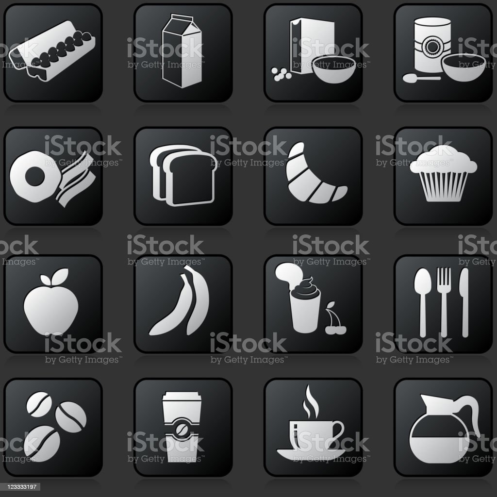 breakfast button set on a dark Background royalty-free stock vector art