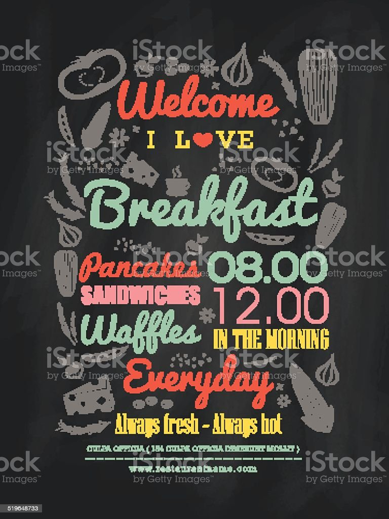 Breakfast cafe Menu Design typography on chalk board vector art illustration