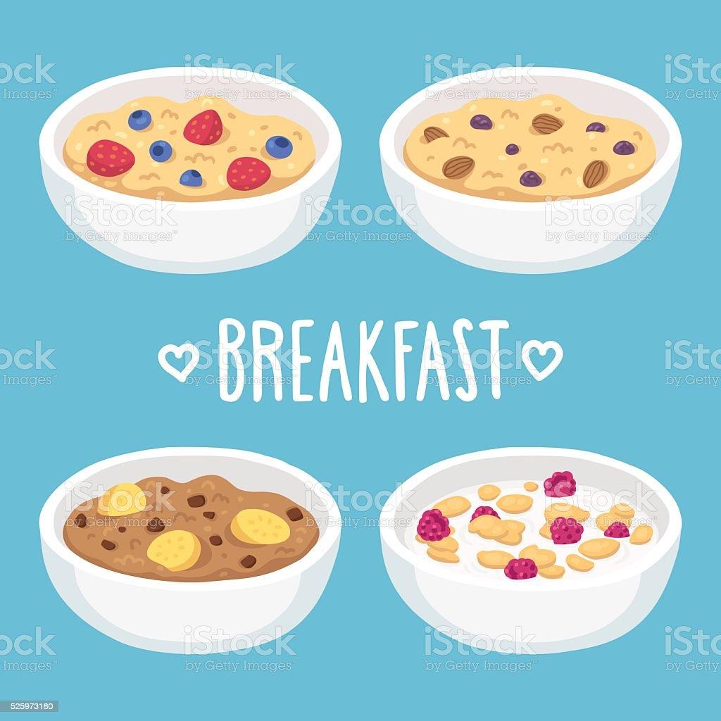Breakfast cereal bowls vector art illustration