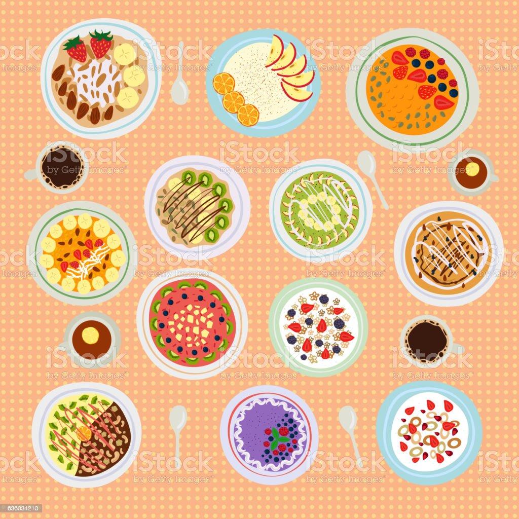 Breakfast cereal porridge vector illustration. vector art illustration