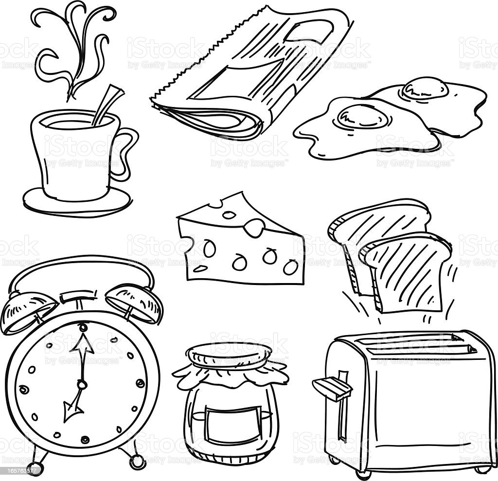 Breakfast collection in black and white vector art illustration