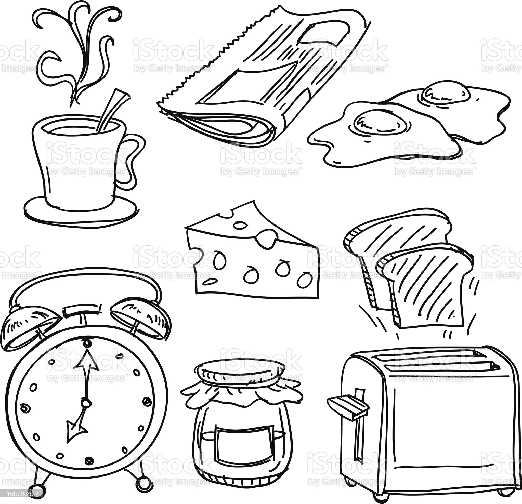 Breakfast collection in black and white royalty-free stock vector art