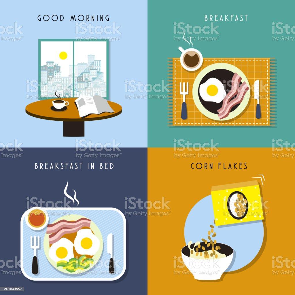breakfast collection set vector art illustration