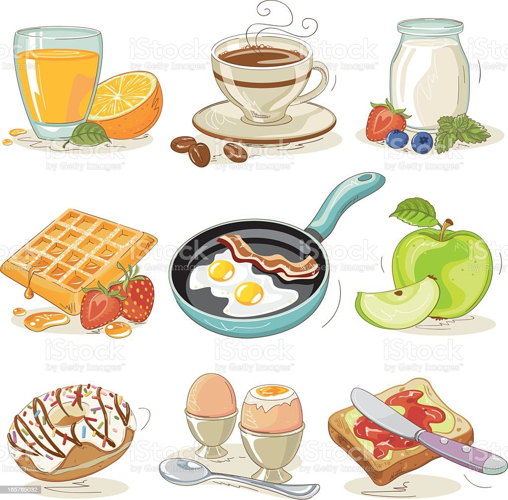 Breakfast Design Elements Set vector art illustration