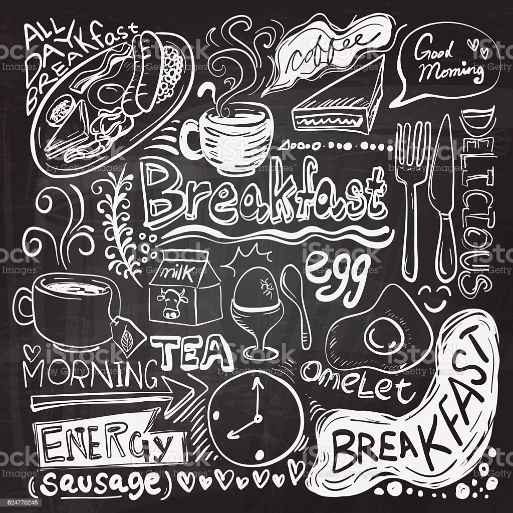 Breakfast doodle drawing vector art illustration
