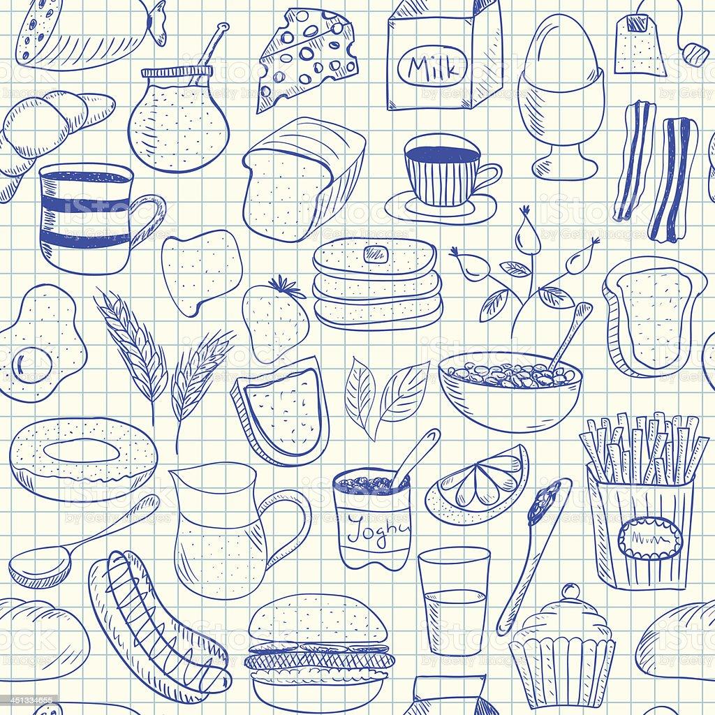 Breakfast doodles seamless pattern vector art illustration