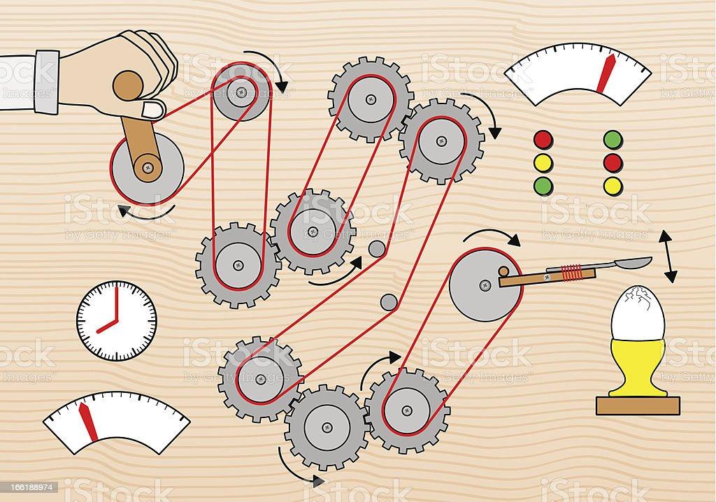 breakfast egg breaking machine vector art illustration