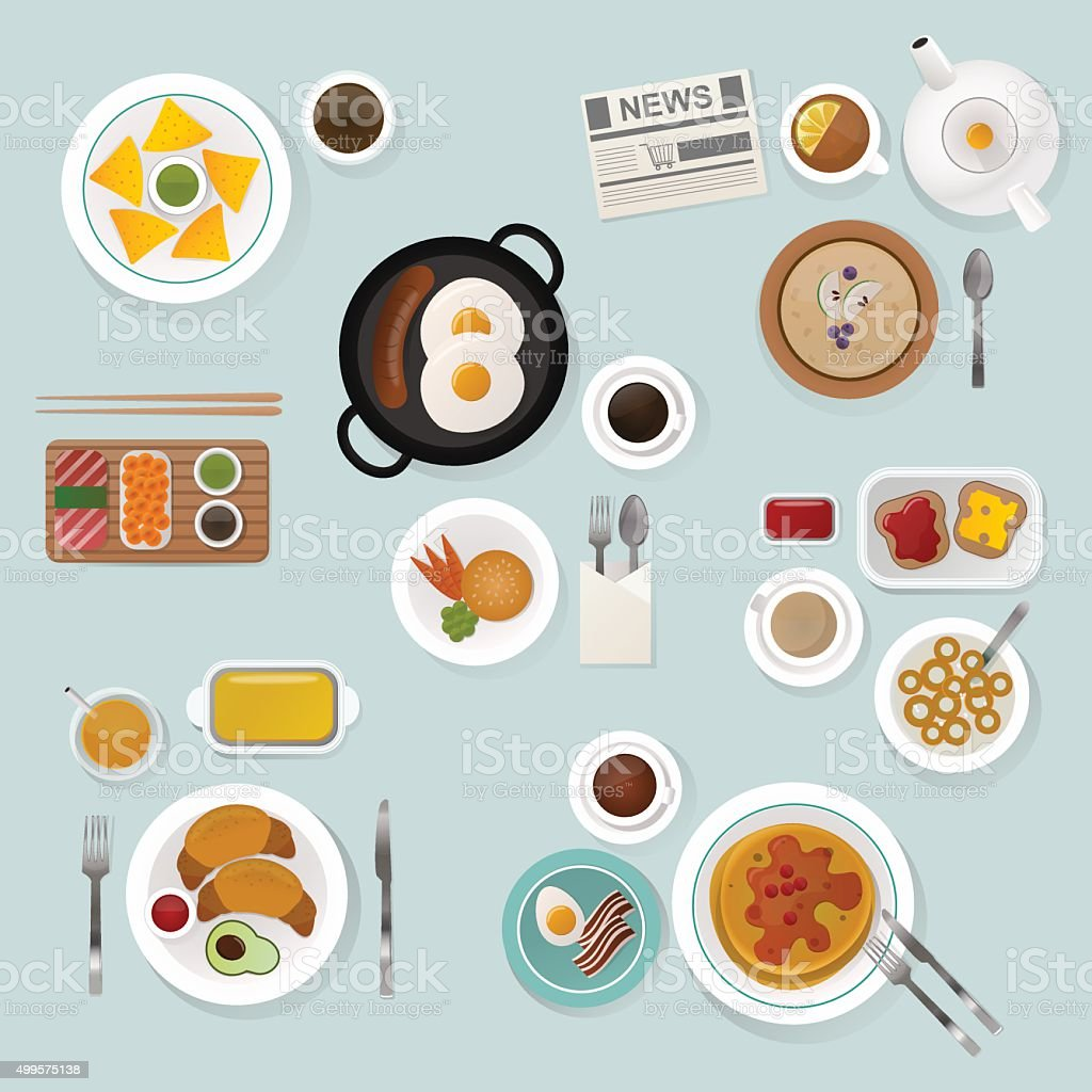 Breakfast flat top view set icons silhouette illustrations vector art illustration