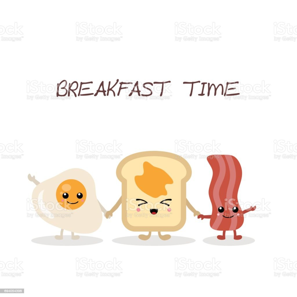 Breakfast food and beverages. vector art illustration