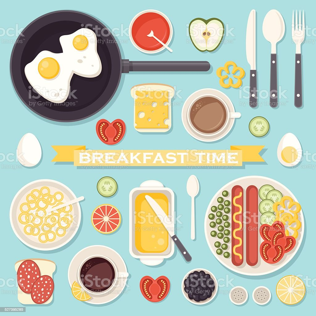 Breakfast food and drinks set vector art illustration
