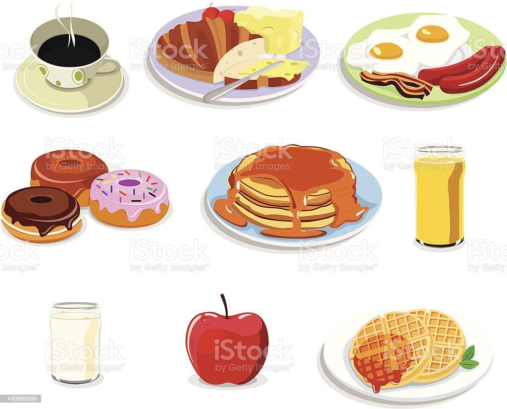 Breakfast food icons royalty-free stock vector art