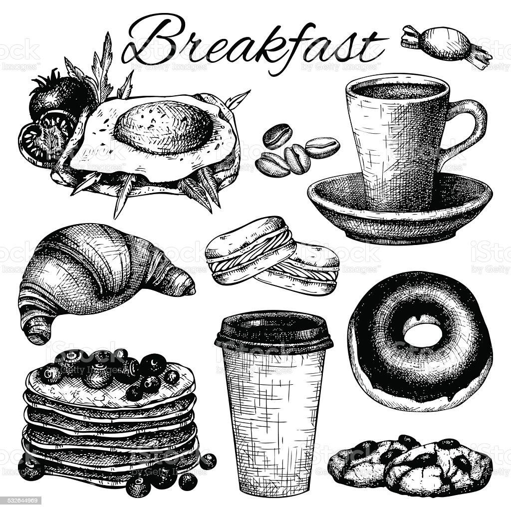 breakfast food illustration vector art illustration