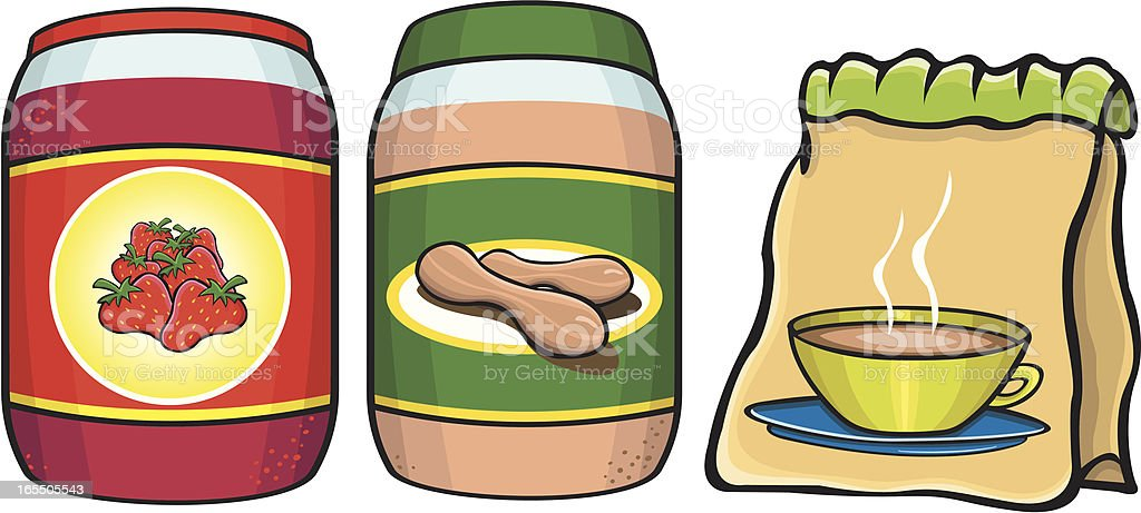 Breakfast food items vector art illustration