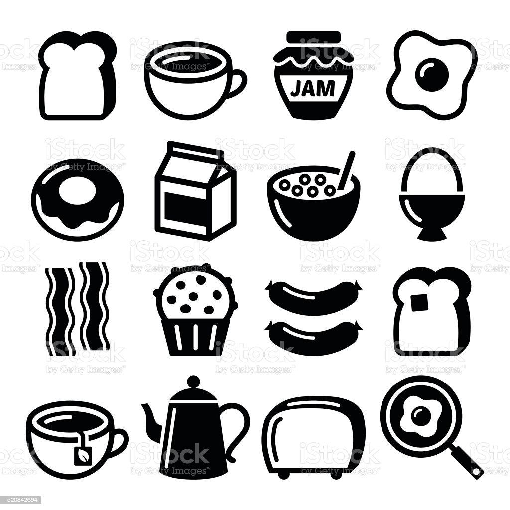 Breakfast food vector icons set - toast, eggs, bacon, coffee vector art illustration
