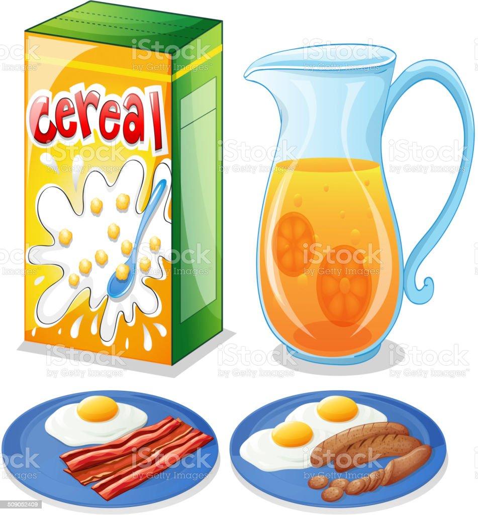 Breakfast foods vector art illustration
