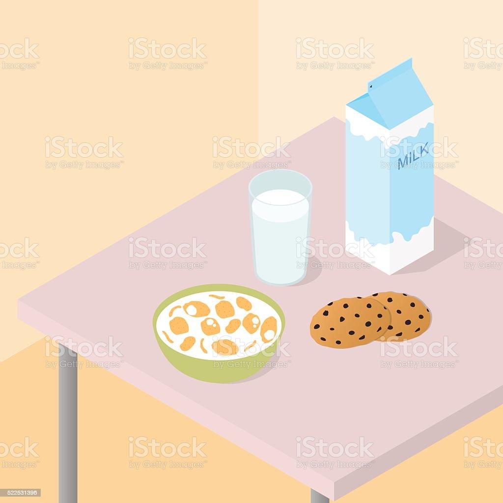 Breakfast for the whole family. vector art illustration